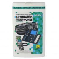 Čisticí trhací ubrousky na klávesnice a telefony, dóza, desinfekční 50ks, Logo