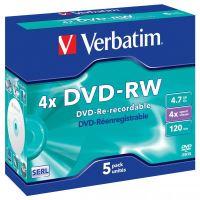 Verbatim DVD-RW, DataLife PLUS, 4,7 GB, Scratch Resistant, jewel box, 43285, 4x, 5-pack