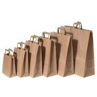 Papírová taška s plochým uchem, 240x110x330mm, hnědá