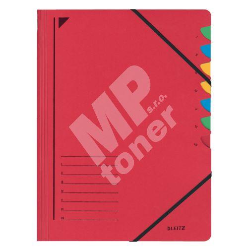 Třídící desky Leitz s gumičkou, 7 přihrádkové, červené 1