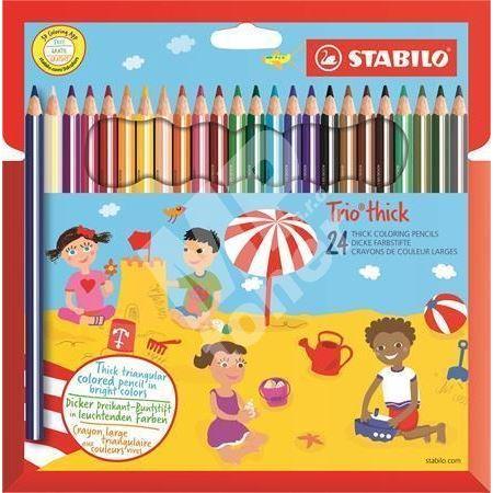 Barevné pastelky STABILO Trio thick, 24 barev, trojhranné, jumbo 1