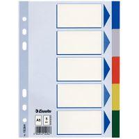 Barevné rozlišovače Esselte A5, plast, 5 dílů, mix barev