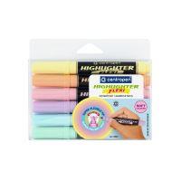 Zvýrazňovač Centropen 8542 Highlighter Flexi Soft, pastelová sada 6 barev