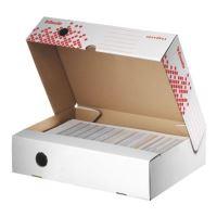 Archivační krabice Esselte Speedbox, horiz., 80 mm, bílá/ červ.