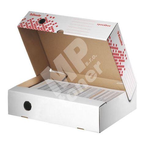 Archivační krabice Esselte Speedbox, horiz., 80 mm, bílá/ červ. 1