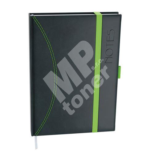 Notes linkovaný s kapsou A5 - nero - černá-zelená 1