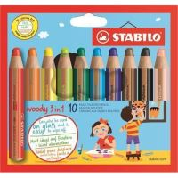 Barevné pastelky STABILO Woody, 10ks, 3v1 – pastelka, vodovka, voskovka