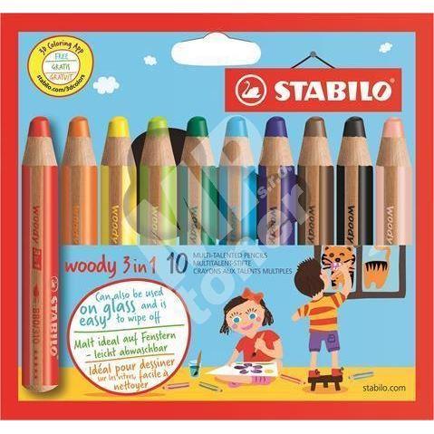 Stabilo Barevné pastelky Woody, 10ks, 3v1 – pastelka, vodovka, voskovka 1