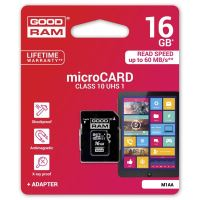 16GB Goodram Micro Secure Digital Card, micro SDHC, UHS-I, s adaptérem