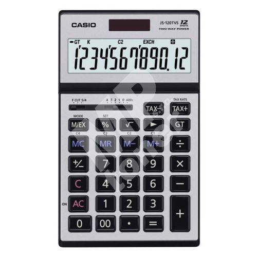 Kalkulačka Casio JS 120 TVS, stříbrná