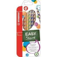 Barevná pastelka STABILO Easycolours, HB, trojhranná, pro praváky, 6ks/ bal.