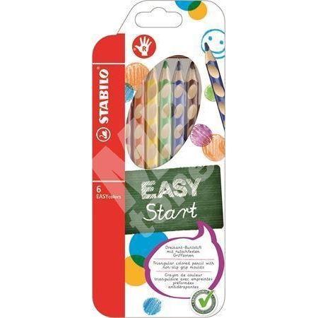 Barevná pastelka Easycolours, HB, trojhranná, pro praváky, 6ks/ bal. , STABILO 1