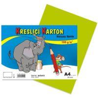 Kreslící karton A4, 180g, zelený, 50 listů