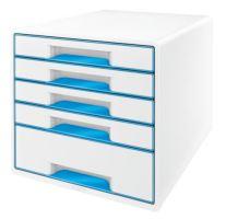 Zásuvkový box Leitz WOW, 5 zásuvek, světle modrý