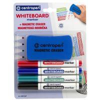 Popisovač Centropen 8559 Whiteboard 4 barvy, magnetická houbička