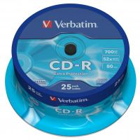 Verbatim CD-R, DataLife, 700 MB, Extra Protection, cake box, 43432, 52x, 25-pack