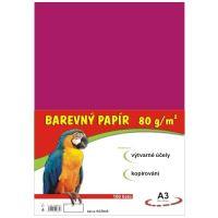 Barevný papír A3, 80g, růžový, 100 listů
