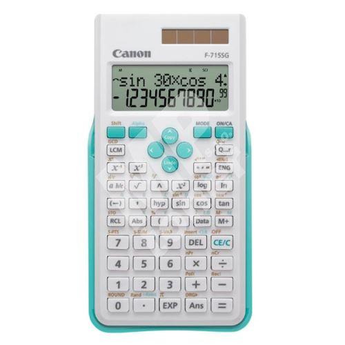 Kalkulačka Canon F-715SG, bílá, školní, dvanáctimístná, s modrým krytem