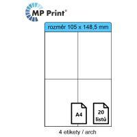 Samolepící etikety MP print 105x148,5 mm, 4ks/arch, 20 archů