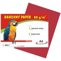 Barevný papír A4, 80g, červený, 100 listů