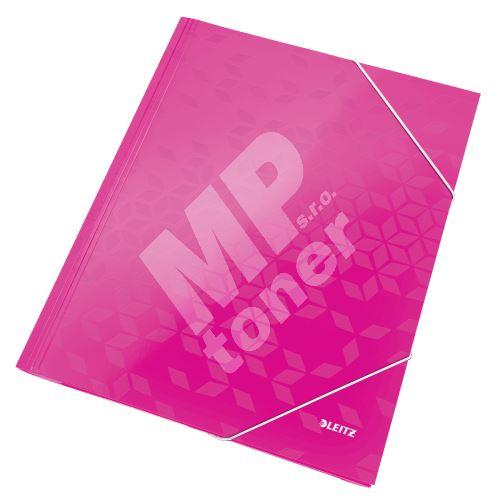 Tříchlopňové desky Leitz WOW A4, růžové 1