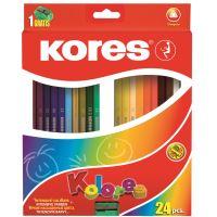 Pastelky Kores Kolores 93324 Trojhranné 24 barev s ořezávátkem