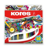 Trojhranné pastelky Kores Mandalas pro antistresové omalovánky, 3 mm / 50 barev