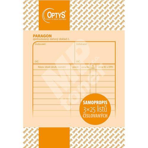 Paragon daňový doklad číslovaný, samopropis, 3 x 25 listů, OP1096 1
