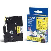 Páska do štítkovače Brother TZE-FX621, 9mm, černý tisk/žlutý podklad, flexi, originál