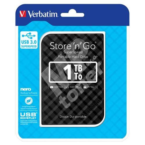 """Verbatim Store n Go 1TB, ultratenký externí HDD 2,5"""" USB 3.0, 53194, černý 1"""