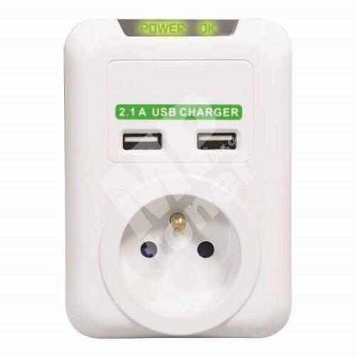 Bezkabelová přepěťová ochrana, 1 zásuvka, bílá, Logo, 2x USB 1