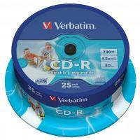 Verbatim CD-R, DataLife PLUS, 700 MB, Wide Printable, cake box, 43439, 52x, 25-pack