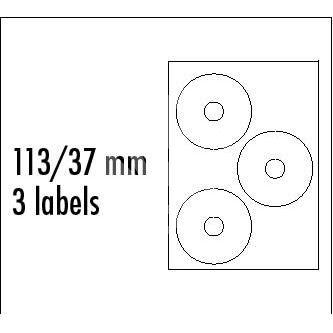 Etikety na CD 113/37 mm, A4, matné, bílé, 3 etikety, 140g/m2, baleno po 10ks, ink tisk