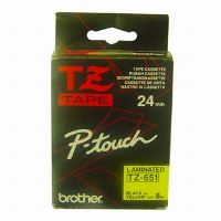 Páska do štítkovače Brother TZe-651 24mm černý tisk/žlutý podklad