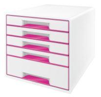 Zásuvkový box Leitz WOW, 5 zásuvek, růžový