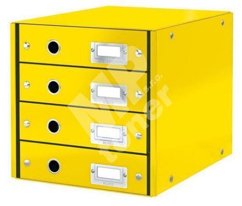 Zásuvkový box Click & Store, žlutá, 4 zásuvky, laminovaný karton, LEITZ 1