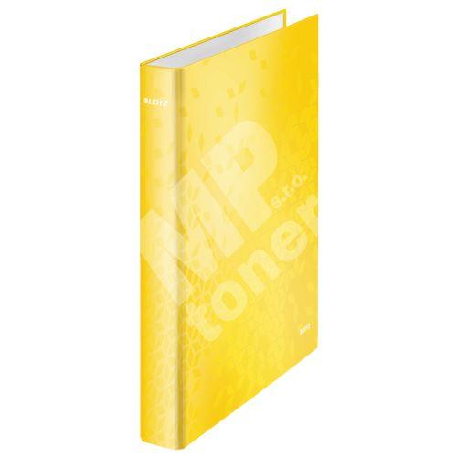 Kroužkový pořadač Wow, žlutá, lesklý, 4 kroužky, 40 mm, A4, karton, LEITZ 1