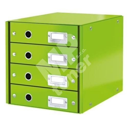 Zásuvkový box Click & Store, zelená, 4 zásuvky, laminovaný karton, LEITZ 1