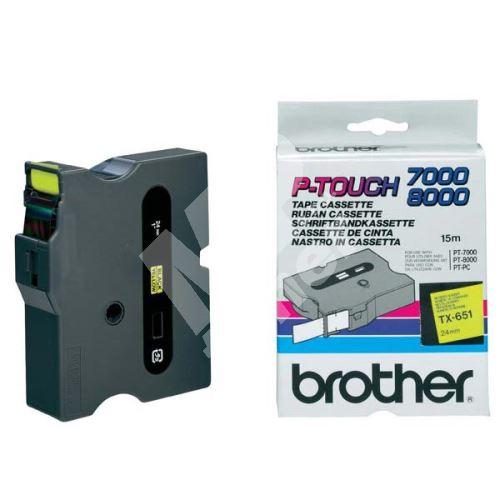 Páska Brother TX-651, černý tisk/žlutý podklad, originál 1
