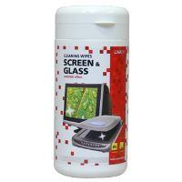 Čisticí trhací ubrousky na obrazovky, dóza, 100ks, L