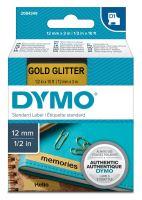 Páska Dymo D1 12 mm x 3m, černý tisk/zlatý podklad, 2084349