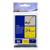 Páska do štítkovače Brother TZE-FX651, 24mm, černý tisk/žlutý podklad, flexi, originál