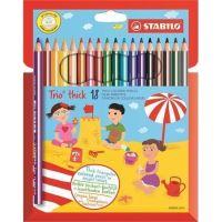 Barevné pastelky STABILO Trio thick sada, 18 barev, trojhranné, jumbo