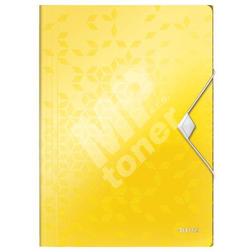 Desky s gumičkou Leitz Wow, A4, PP, žlutá 1