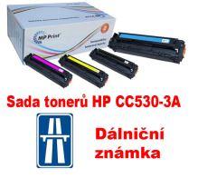 Sada tonerů HP CC530-3A, CMYK, MP print + dálniční známka