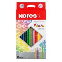 Pastelky Kores Kolores Style, trojhranné, 15 barev