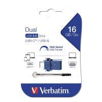 16GB Verbatim USB flash disk OTG, 3.0/3.0 Typ C, modrý, 49965, šňůrka