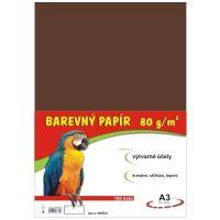 Barevný papír A3, 80g, hnědý, 100 listů