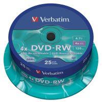 Verbatim DVD-RW, DataLife PLUS, 4,7 GB, Scratch Resistant, cake box, 43639, 4x, 25-pack