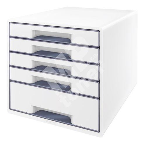 Zásuvkový box Leitz WOW, 5 zásuvek, šedý 1